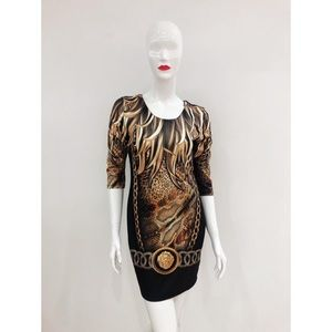 Stunning Black Golden Print Mini Dress